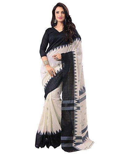 Varayu Women's Raw Silk Saree with Blouse Piece(184SJ8910_Off-White and Black)