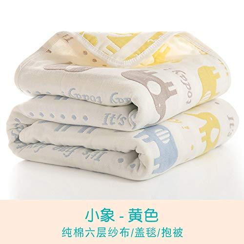 Sommer Quilt Sechslagige Gaze Kinder Handtuch Von Baumwolle Baby Badetuch Neugeborenen Abdeckung Decke 120X150 Baby Elefant Gelb Bettwäsche Cashmere-gaze