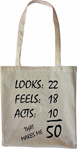 Mister Merchandise Tasche 50 Years - Looks Feels Acts Stofftasche , Farbe: Schwarz Natur