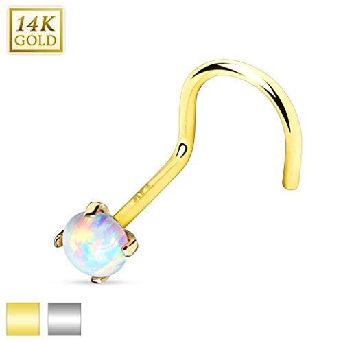 Cool Body Art Homme Nez Femme Piercing nez or blanc ou Gelbgold spirale 14K avec Opale on Top également en kit Weißgold