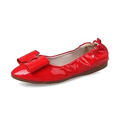 BalaMasa Girls Foldable Elastic Band Spun Gold Bowknot Red Patent Leather Pumps-Shoes - 2.5 UK