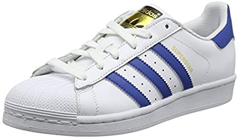 adidas Superstar, Baskets Basses Garçon, Blanc (Ftwr White/Eqt Blue S16/Eqt Blue S16), 36 EU