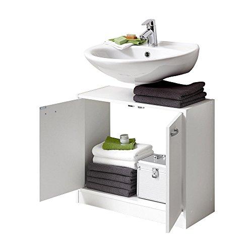 FMD Möbel Marbella Waschbeckenunterschrank, Holz, Weiß, 63.7 x 28.1 x 55 cm