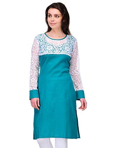 Cenizas Women Cotton Straight Kurta (Kurtis/2145/Blu/M _Blue _M)