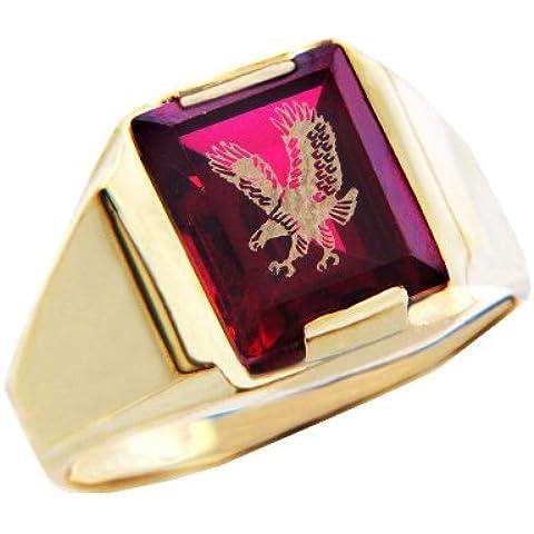 Pequeños Tesoros - Anillos Hombres Alianza De Boda 10 Kt Oro 471/1000 Oro - Granate Rojo Piedra Con Oro Águila