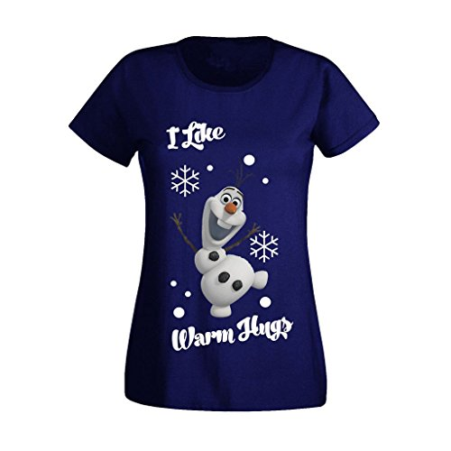 11 Womens T-shirt (Women's Ladies Frozen Disney Olaf I Like Warm Hugs High Christmas Quality Printed T Shirts UK Size 8-16 (X-Large) Royal Blue)