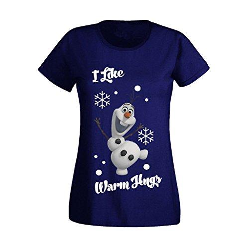11 Womens T-shirt (Women's Ladies Frozen Disney Olaf I Like Warm Hugs High Christmas Quality Printed T Shirts UK Size 8-16 (X-Large) Royal Blue)