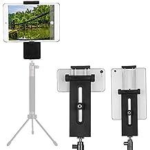 "Tablet Trípode Soporte Montaje, Multiángulo Tablet Trípode Adaptador Soporte Vertical de Teléfono Clip para 3-13""Pulgada Phones, iPad Pro/Air/Mini, Trípode, Monopod, Palo Selfie"