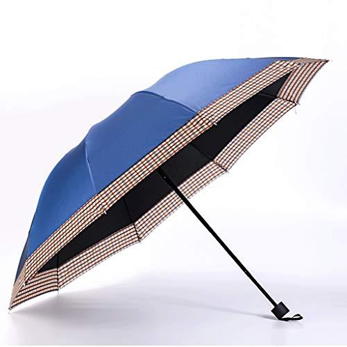 Regenschirm Männer Auswirkungen Farbe Kleber Business Dreifachgefaltete Sonnencreme Regenschirm Blau Rot 112 * 74 * 64 cm Langlebig (Color : Blue, Größe : 112 * 74 * 64cm)