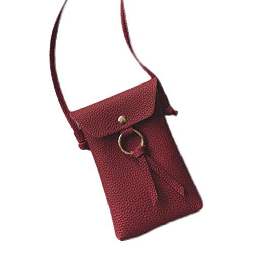 Wicemoon PVC Sac à Sac Housse portefeuille Trousse cosmétique Sac de rangement Sac à main de stockage de petites choses pour femme Lady 11 x 17 x 3cm red