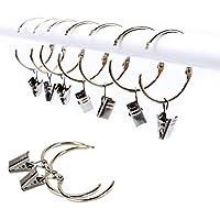 XQ7 25 Stück Vorhangring mit Clips Haken, Rostfreier Stahl Fenster Gardinen Hängender Ring, Rostfreies Metall, Leicht zu öffnen und Schließen, 38 mm Innendurchmesser (Silber)