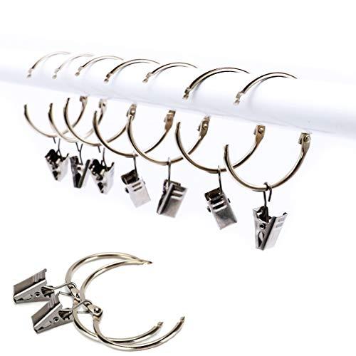 25 Stück Vorhangring mit Clips Haken, Rostfreier Stahl Fenster Gardinen Hängender Ring, Rostfreies Metall, Leicht zu öffnen und Schließen, 38 mm Innendurchmesser (Silber) -