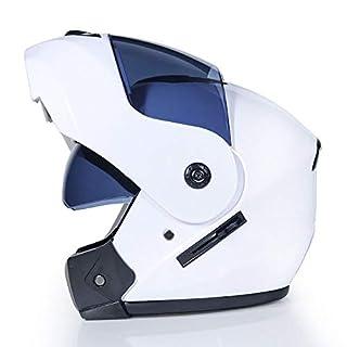 DanNN Motorrad Full Face ECE Helm-YEMA YM-829 Racing Motorcycle Helmet mit Sun Visor,White,S