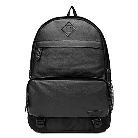 UNIVES Men's Vintage Leather Laptop Backpack Large Capacity Notebook Daypack