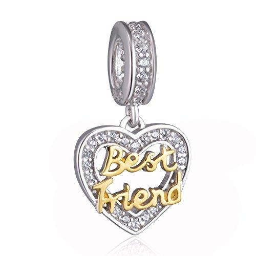 Beste-Freunde-Herzanhänger, 925-Sterling-Silber, passend für Pandora-Armbänder und Halsketten. Friend gold