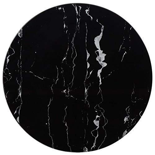 UnfadeMemory Tischplatte Glas Tischplatten ideal als Ersatzteil Glasplatte in Marmoroptik DIY Tisch für Esstisch Couchtisch Beistelltisch oder Gartentische(Rund Ø70 cm, Schwarz)