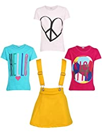 Gkidz Girls Pack of 3 Printed Cotton T-shirts with 1 Pack Stretchable Dungree Skirt (JG-GRAPHICCMB1_N_003DNGRE-YLW_Multicolor )
