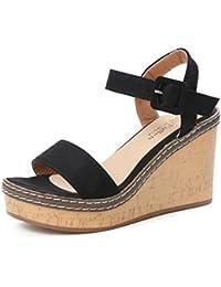 Reaso Femme Sandales Compensées Sandales Talon Compensé Chaussures Tongs  Sandales High Heels Sandales Bout Ouvert Plate b3a663578449