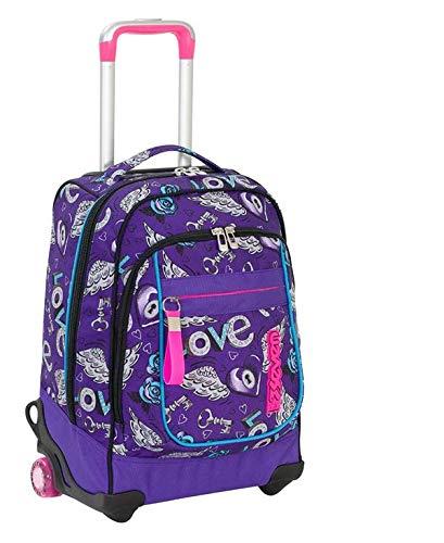 Trolley seven round - keys - viola - spallacci a scomparsa! uso zaino scuola e viaggio