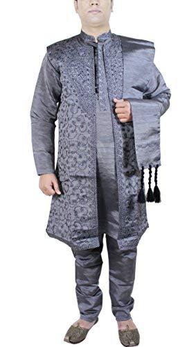 SKAVIJ Herren Kurta Pyjama Jacke und Stola Besticktes Kleid (Dunkelgrau, Brustumfang - 112 cm) -