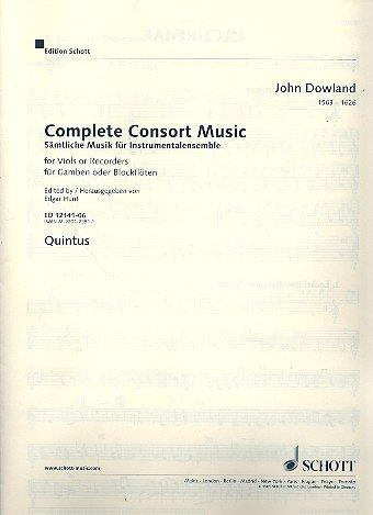 Sämtliche Musik für Instrumentalensemble: Werke für Gamben oder Blockflöten. 5 Streicher oder 5 Blockflöten (SATTB) und Basso continuo (Laute, Noten Orgel). Quintus, Violinschlüssel oktaviert.