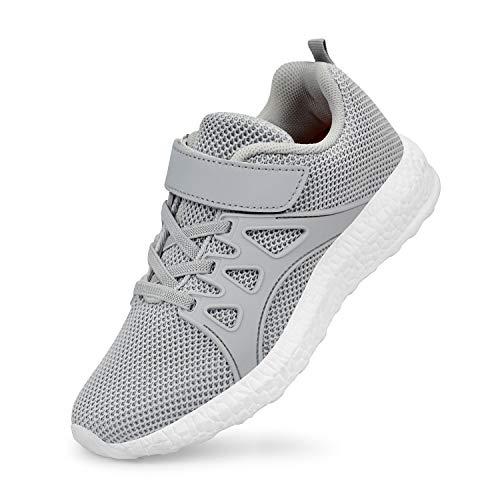 ZOCAVIA Jungen Mädchen Kinderschuhe Sportschuhe Tennisschuhe Sneaker Grau 30 EU(Herstellergröße: 31)