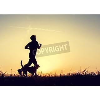 adrium Evening jogging walk with a dog silhouettes(48735030), Canvas, 30 x 20 cm