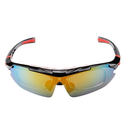 A-szcxtop Anti-UV-Winddicht Sport Radfahren Brille Fahrrad Sonnenbrille polarisiert Brille Goggle für Reiten Fahrrad-Zubehör mit Plug-In Beine Balck-Red