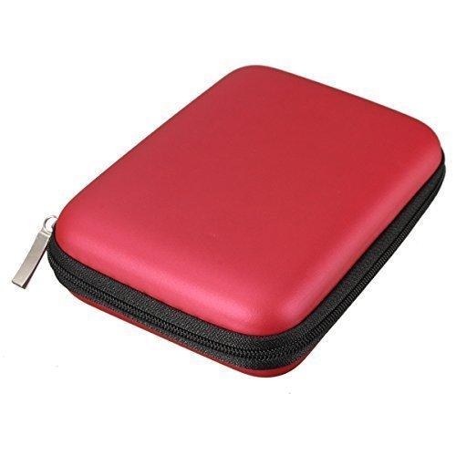 Angelo Caro- Etui Sac Housse Case Antichoc Zippé pour disque durs externes 2,5 pouces - Rouge