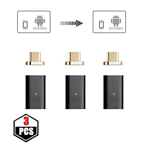 NetDot 3 Pack 5. Generation Micro USB zu magnetischen Micro USB Adapter kompatibel mit Android Devie (Micro USB Adapter / 3 Pack schwarz)