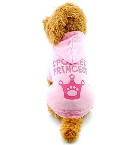 Ranphy T-shirt pour petit chien chiot d'été Vêtements pour filles Couronne Sweat à capuche pour homme, Rose