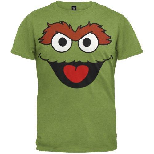 Kostüm Mülltonnen - Sesame Street - Herren Oscar The Grouch Face Kostüm T-shirt - X-Large grün