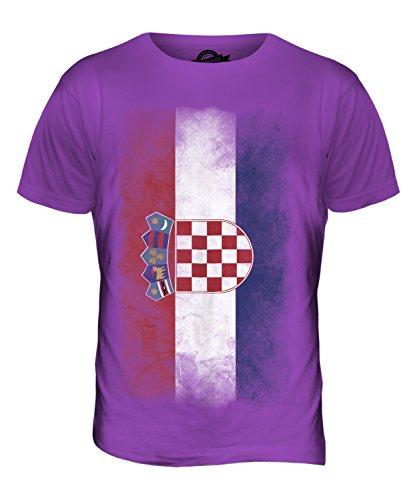 CandyMix Kroatien Verblichen Flagge Herren T Shirt Violett