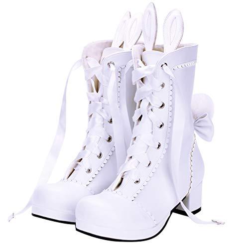 PINGXIANNV Lolita Schuhe Frauen High Heels Plattform Lolita Zip Kaninchen Ohren Studentin Weibliche Muffin Stiefel Cosplay Schuhe Handmade