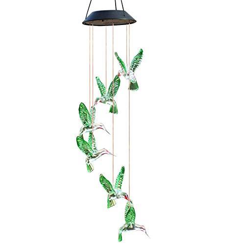 PEIQI GARDEN Carrillón Viento LED Solar Cambiante Color,Carrillones para Jardín Decoración del Hogar/Fiesta/Jardín