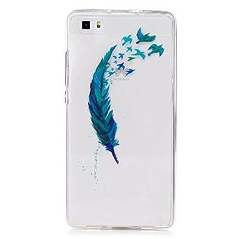 Huawei P8lite Hülle Silikon Transparenter Ultra Dünner Tpu Weicher Handy Hülle Dechyi Kunstmalerei Serie Handyhülle Huawei P8 Lite Blaue Feder 1