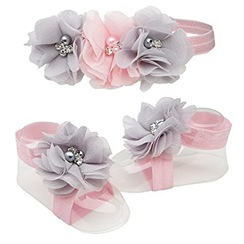 Petals Pink/Grey Baby Barefoot Sandal and Headband Gift Set with Flower Accents by Cherished Moments