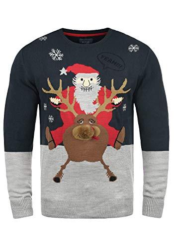 Blend Rudolph Herren Strickpullover Weihnachtspullover Mit Rundhalsausschnitt, Größe:3XL, Farbe:Dark Navy/Santa (74676)