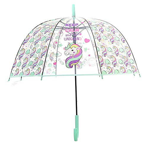 Unicornio Paraguas Transparente Forma Cúpula Función