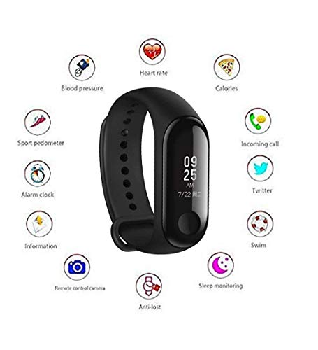 Azacus M3 Intelligence Bluetooth Health Wrist Smart Band Watch Monitor/Smart Bracelet/Health Bracelet/Activity Tracker/Smart Fitness Band Compatible for All Androids and iOS Phone/Tablet (Black)