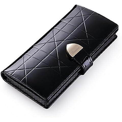Teemzone mujeres cuero botón monedero dama corto embrague cartera bolso caja tarjeta crédito