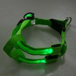Collier Harnais LED Lumineux pour Chien Vert - Taille S