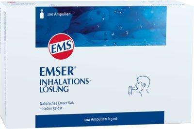 Emser Inhalationslösung mit Natürlichem Emser Salz - Inhalation bei Erkältung, Asthma und Bronchitis - 100 Ampullen à 5 ml