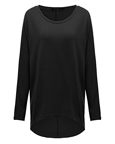 ZANZEA Mode Lâche Femme Shirt en Chauve-souris Manches Irrégulier Jumper Tops Hauts Noir