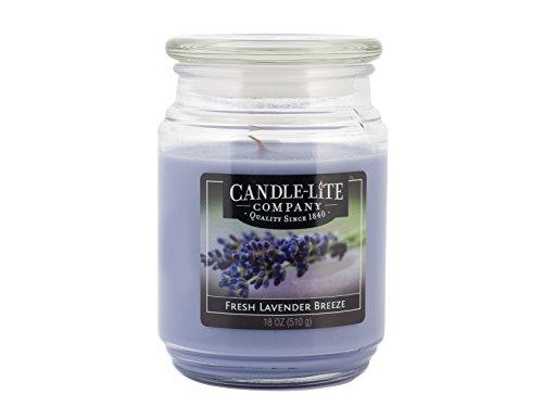 Candle Lite-Vela perfumada en Cristal, Fresh Lavender Breeze 510g, Lila, 10x 10x 14,5cm