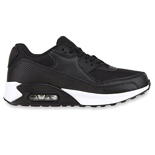 best-boots Unisex Damen Sneaker Fitness Laufschuhe Turnschuhe Runners Schwarz Black Nuovo