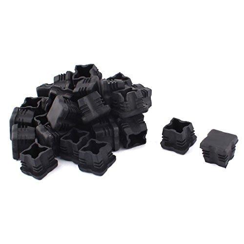 DealMux Plastique Canapé Pieds Protecter Tube carré Tube Tuyau Inserts Caps 25 mm x 25 mm 30 pcs Noir