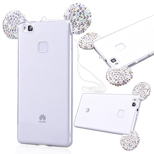 GrandEver Huawei P9 Lite Strass Hülle Weiche TPU Diamant 3D DIY Mouse Ear Design Bling Durchsichtig RückseiteTasche Schutz Glitter Glitzer Shiny Glanz Sparkle Clear Glänzend Kristall Klar Transparent  Weiß
