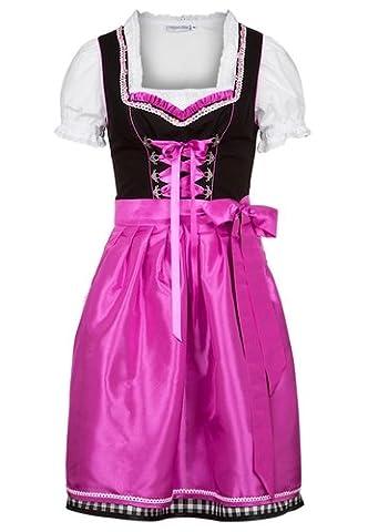 Ludwig und Therese Damen Trachten Dirndl-Set Emilia mini schwarz/pink 3tlg 11179 38