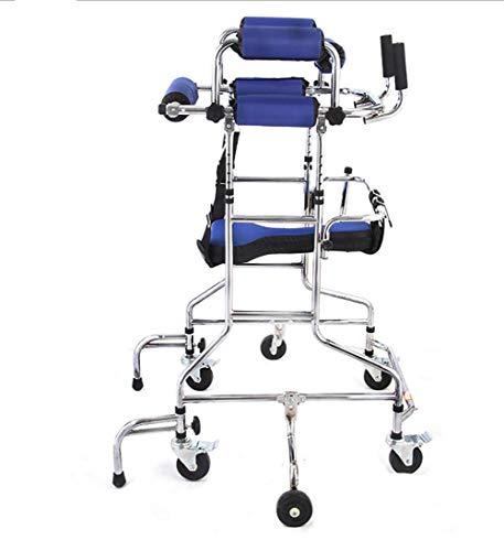 KOSHSH Adult Mobile Gehrahmen, Höhe Breite verstellbaren Edelstahl-Rehabilitations-Stell Rollatoren Multi-Funktionsassistent